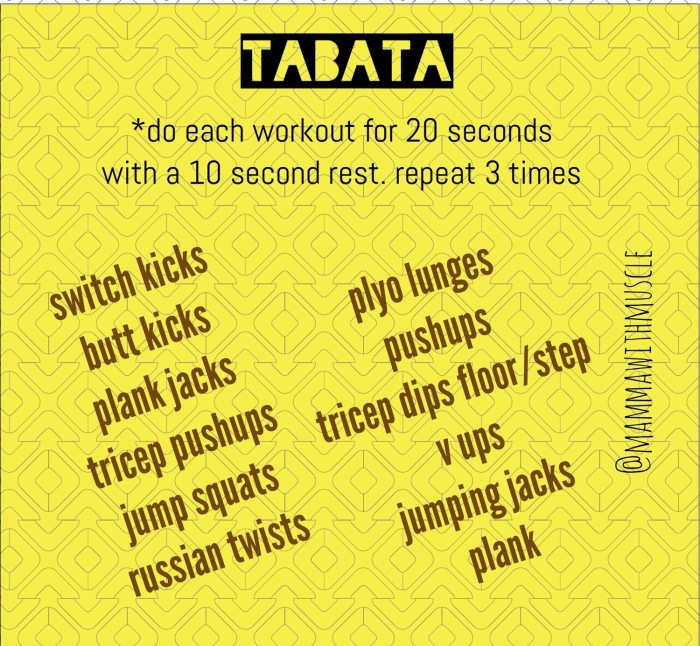 Workout Wednesday ~ At home Tabata